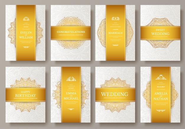 Conjunto de páginas artísticas de oro de lujo con plantilla de folleto de logotipo