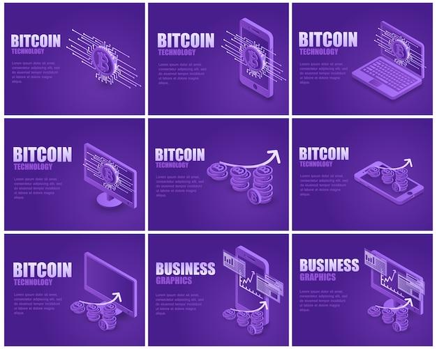 Conjunto de páginas de aterrizaje de bitcoin de negocios