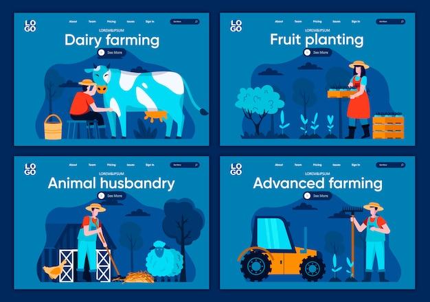 Conjunto de páginas de aterrizaje planas de agricultura avanzada. trabajadores agrícolas que ordeñan escenas de plántulas de vacas y plantas para el sitio web o la página web de cms. la ganadería lechera, la siembra de frutas, la ilustración de la cría de animales