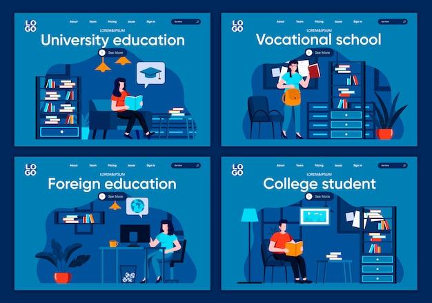 Conjunto de páginas de aterrizaje planas de educación universitaria. aprendizaje a distancia, escenas de cursos profesionales para sitio web o página web de cms. estudiante universitario, escuela vocacional, ilustración de educación extranjera.