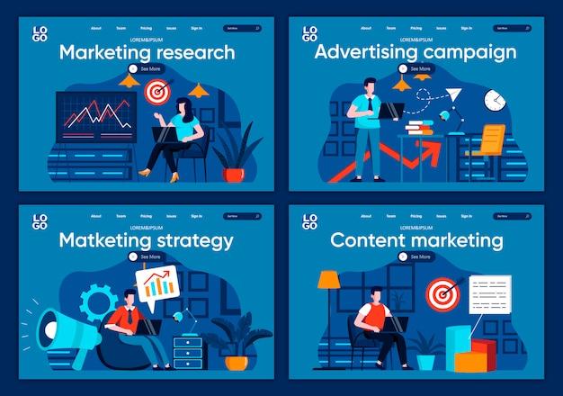 Conjunto de páginas de aterrizaje planas de investigación de mercado. los especialistas en marketing analizan datos y realizan escenas de presentación para el sitio web o la página web de cms. campaña publicitaria, contenido de marketing e ilustración de estrategia.