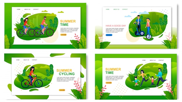 Conjunto de páginas de aterrizaje publicidad de vacaciones de verano saludables y activas