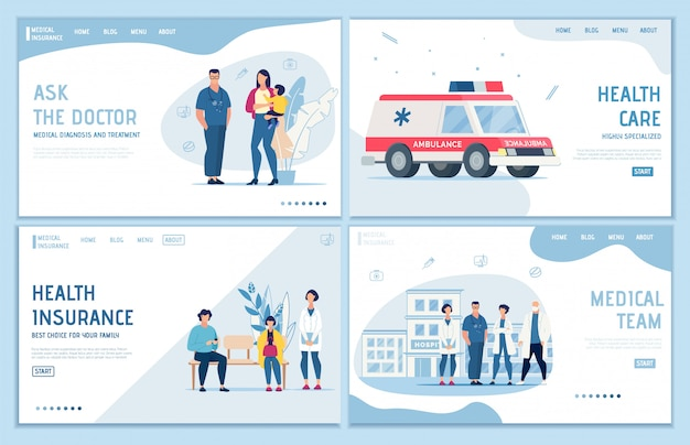 Conjunto de páginas de aterrizaje de seguros, soporte y primeros auxilios