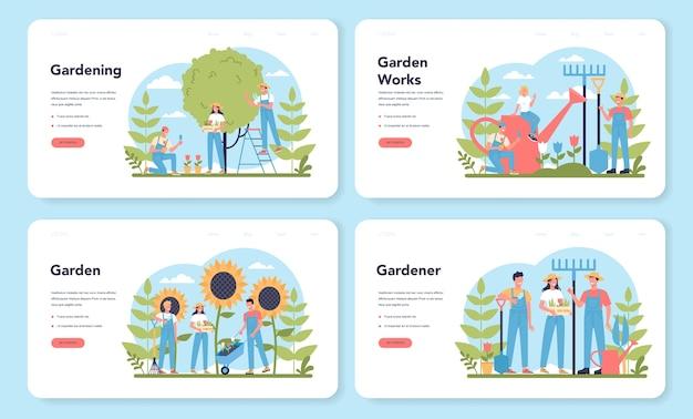 Conjunto de páginas de aterrizaje web de jardinería. idea de negocio de diseño hortícola. carácter plantando árboles y arbustos. herramienta especial para trabajo, pala y maceta, manguera. ilustración plana aislada