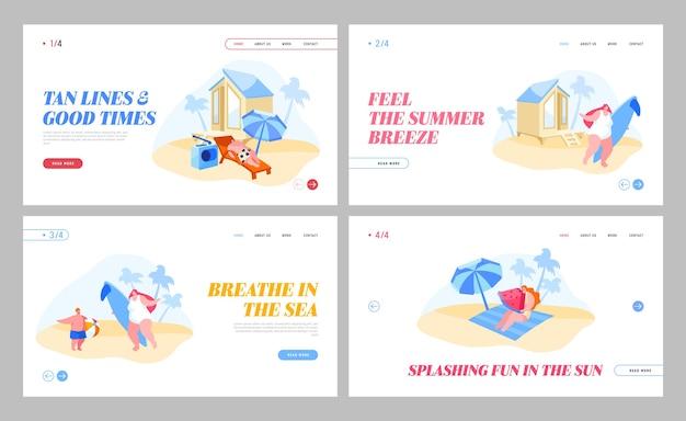 Conjunto de páginas de destino de actividades de recreación de verano