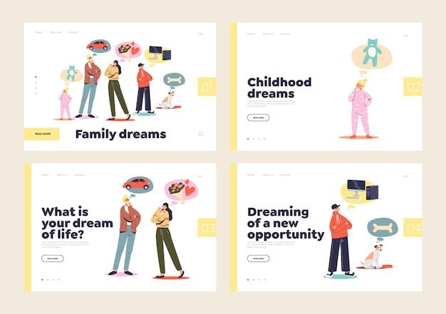 Conjunto de páginas de destino para el concepto de sueño familiar con pareja casada e hijos