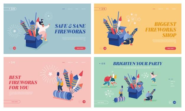 Conjunto de páginas de destino, diseño web, aplicación móvil con personas celebrando el año nuevo