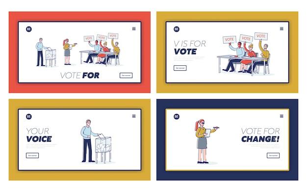 Conjunto de páginas de destino de elecciones y democracia.