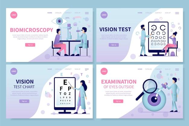 Conjunto de páginas de destino de oftalmología.