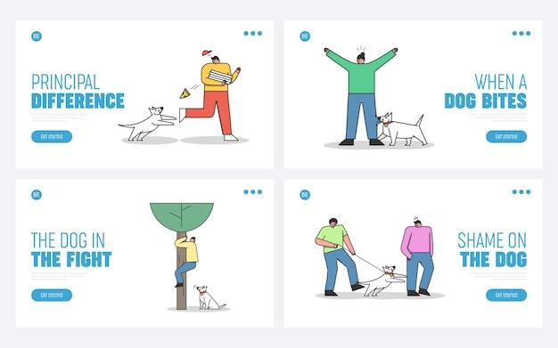 Conjunto de páginas de destino con perros atacando humanos. perros agresivos que muerden y ladran a las personas.