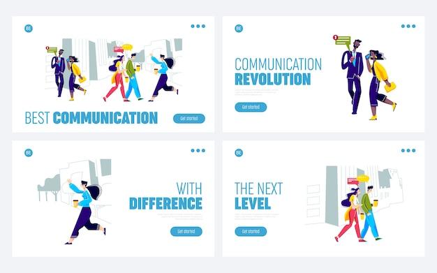 Conjunto de páginas de destino con personas que se comunican en movimiento usando teléfonos inteligentes o hablando.