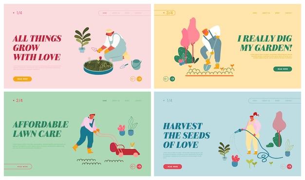Conjunto de páginas de destino del sitio web de agricultores que cuidan de plantas.