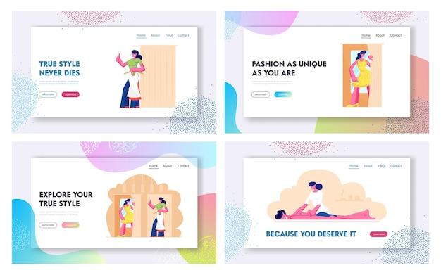 Conjunto de páginas de destino del sitio web de procedimientos de compras y belleza