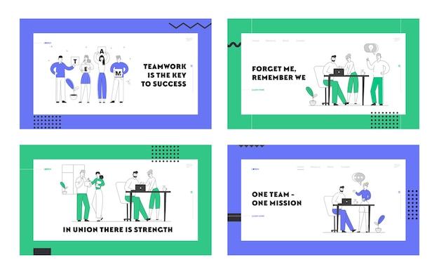 Conjunto de páginas de destino del sitio web de trabajo en equipo y lluvia de ideas.