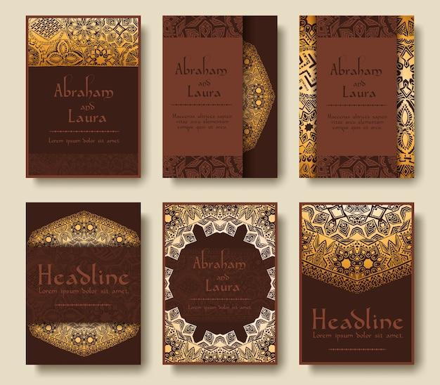 Conjunto de páginas de folletos tradicionales adornan el concepto de ilustración.