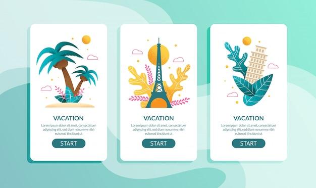 Conjunto de páginas móviles de vacaciones tropicales y europeas