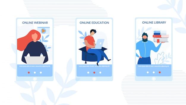 Conjunto de páginas sociales móviles publicidad e-learning