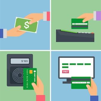 Conjunto con pagos con tarjeta de crédito y en efectivo