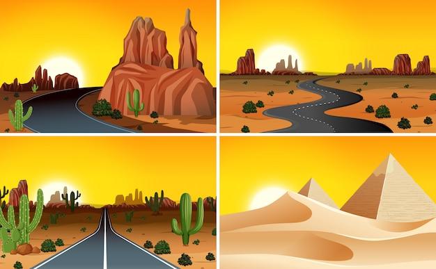 Conjunto de paisaje desértico