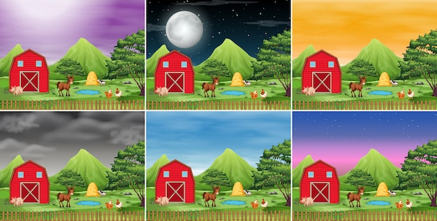 Conjunto de paisaje de la granja