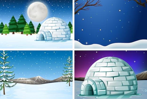 Conjunto de paisaje de invierno