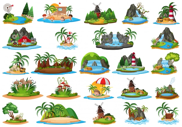 Conjunto de paisaje de la isla diferente