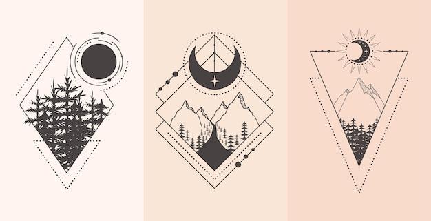 Conjunto de paisaje de montaña y bosque en estilo tatuaje. ilustración