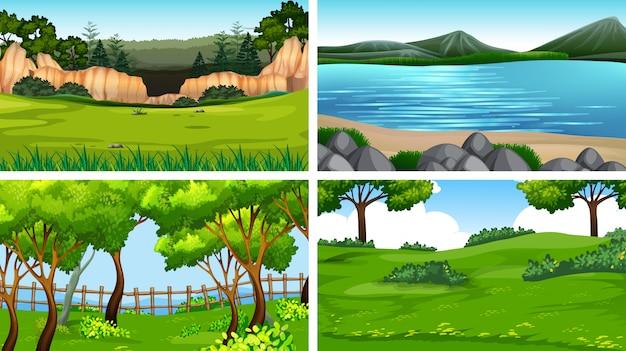 Conjunto de paisaje natre