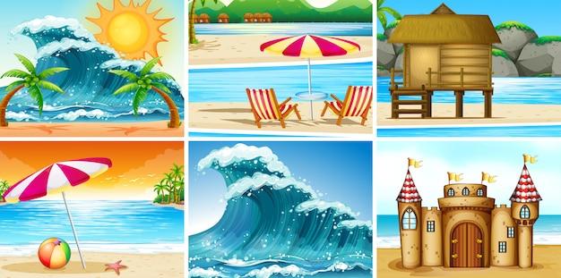 Conjunto de paisaje de playa