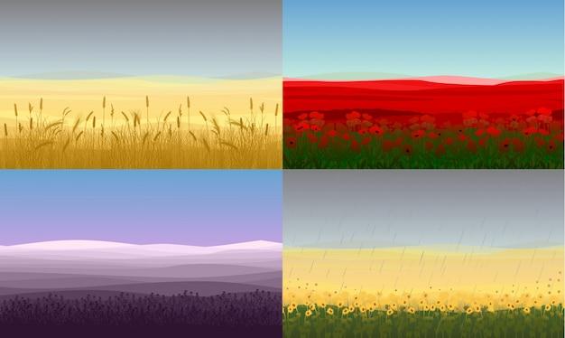 Conjunto de paisajes de campo hermoso colorido