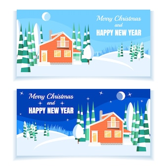Conjunto de paisajes de invierno con casa en polvo, árboles, piceas en el bosque en un bosque cubierto de nieve