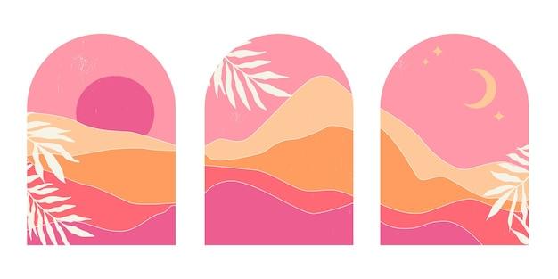 Conjunto de paisajes de montaña abstractos en arcos al atardecer con sol y luna en un estilo estético minimalista de mediados de siglo