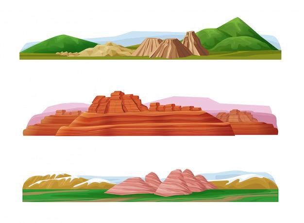 Conjunto de paisajes de montaña coloridos de dibujos animados