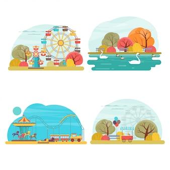 Conjunto de paisajes de parques de atracciones con diferentes carruseles, columpios, noria y atracciones acuáticas.