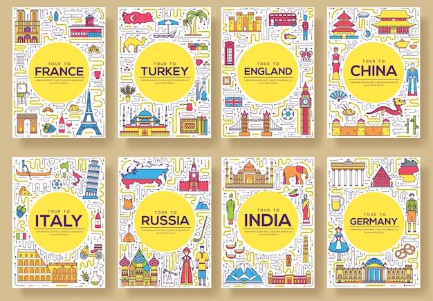 Conjunto de países del mundo de viajes de línea delgada