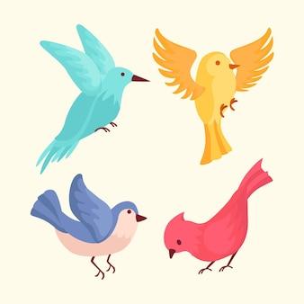 Conjunto de pájaros dibujados a mano