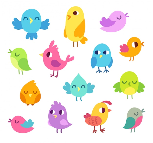 Conjunto de pájaros lindos dibujos animados