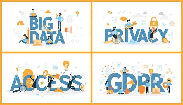 Conjunto de palabra de datos digitales con personas alrededor. acceso y privacidad, big data y gdpr. concepto de tecnología informática moderna. ilustración