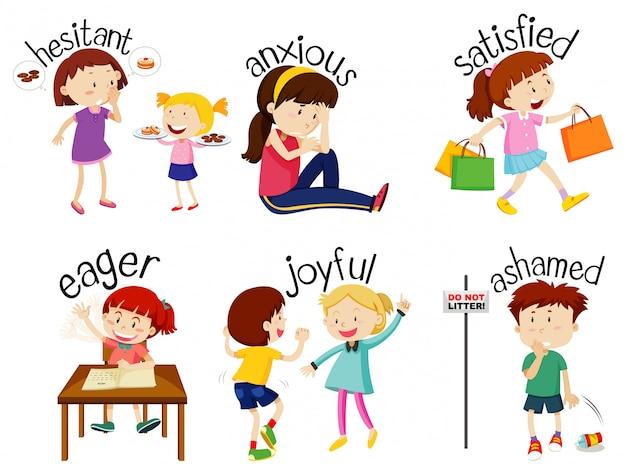 Conjunto de palabras adjetivas con niños que expresan sus sentimientos.