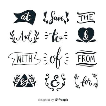 Conjunto de palabras clave de boda lindo dibujado a mano