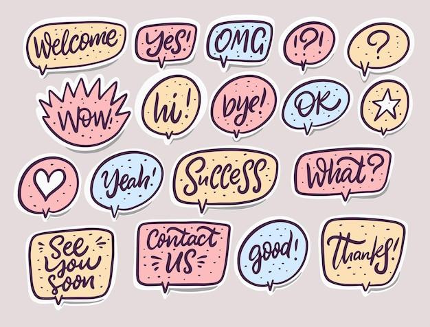 Conjunto de palabras de diálogo de burbujas de discurso cómico