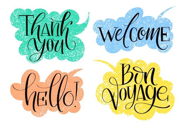 Conjunto de palabras escritas a mano comunes en burbujas de discurso con textura dibujada.