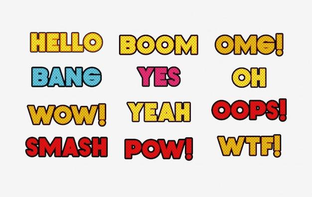 Conjunto de palabras de estilo pop art.