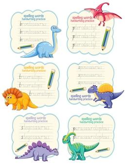 Conjunto de palabras de ortografía hoja de trabajo de práctica de escritura a mano de dinosaurio