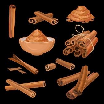Conjunto de palitos de canela y polvo. condimento aromático condimento picante para platos, dulces y bebidas. tema culinario. ingrediente de cocina y aromaterapia.