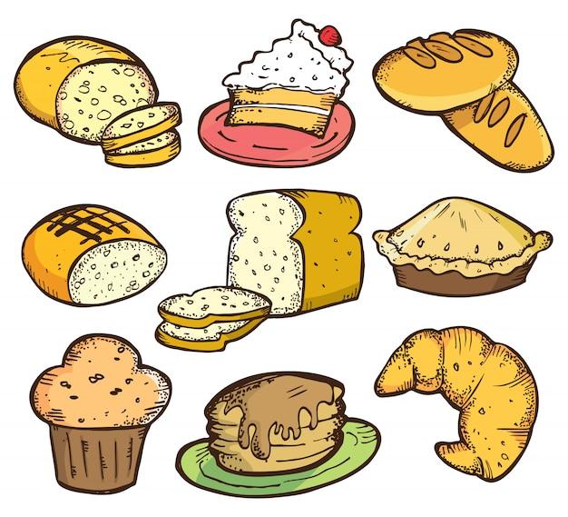 Conjunto de pan y pastel en estilo doodle