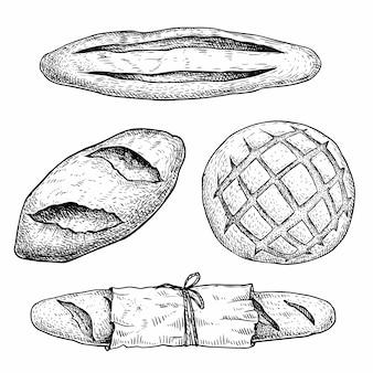 Conjunto de pan recién horneado. baguette francés, bollos de pan, pan con paquete de papel.