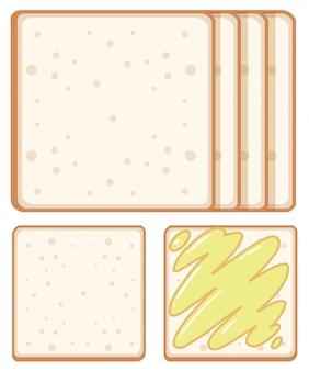 Conjunto de pan sobre fondo blanco