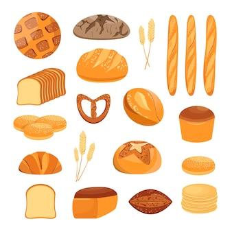 Un conjunto de pan sobre un fondo blanco.