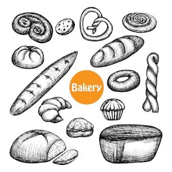 Conjunto de panadería dibujados a mano